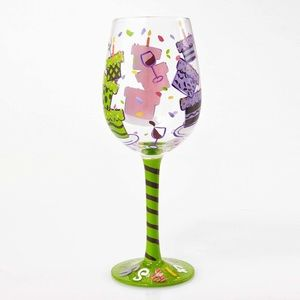 "Lolita ""tipsy birthday"" themed wine glass"